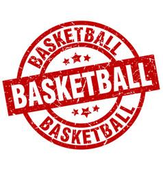 Basketball round red grunge stamp vector