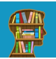 Book shelf in form of head vector
