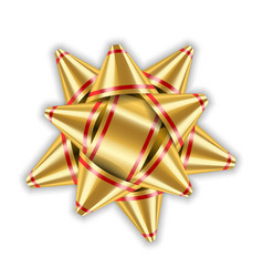 bow ribbon gold christmas isolated vector image