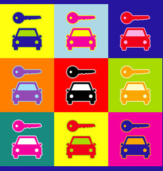 Car key simplistic sign pop-art style vector