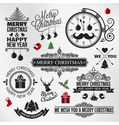 Christmas happy new year vintage labels set vector