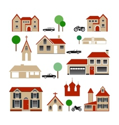 Collection of Various Buildings vector image