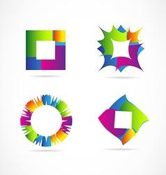 Colors logo elements icon set design vector