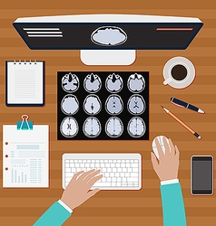 Doctor works with X ray of the brains vector image