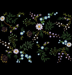 embroidery trend floral seamless pattern small vector image vector image