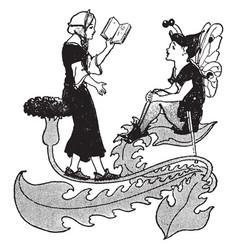 Fairies reading written vintage engraving vector