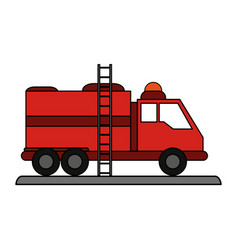 fire truck puts out fire vector image