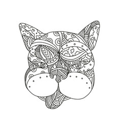 French bulldog doodle art vector