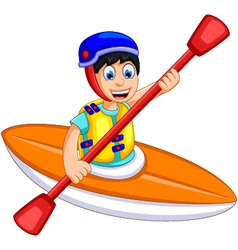 Funny boy cartoon play rafting vector