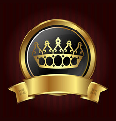 golden crown in the circle vector image vector image