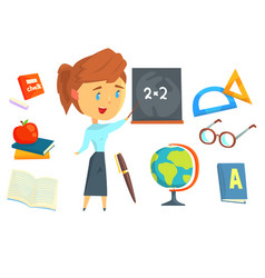 Happy teacher standing next to a blackboard set vector