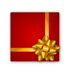 holiday gift red box with golden ribbon and bow vector image