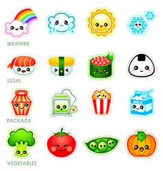 Kawaii stickers - set ii vector
