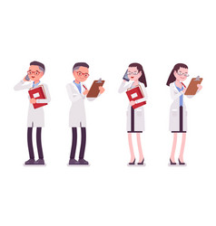 male and female scientist standing with paper and vector image
