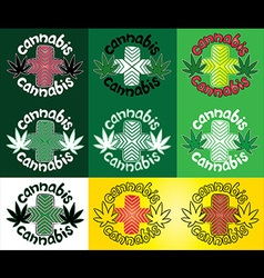 marijuana cannabis hemp design stamps vector image vector image