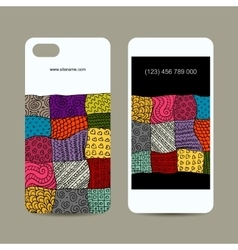 Mobile phone cover design floral ornament vector