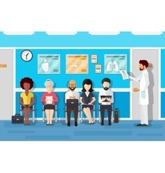 Patients in doctors waiting room vector image vector image
