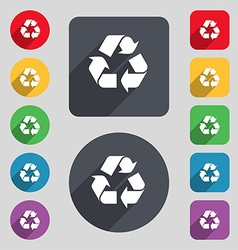 Processing icon sign a set of 12 colored buttons vector