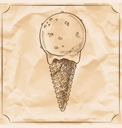 Retro delicious ice cream cone hand drawn vector