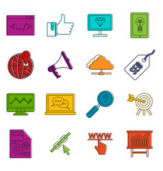 seo icons doodle set vector image