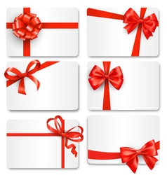 Set Collection of Festive Cards with Bows Isolated vector image vector image
