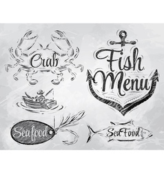 Set collection of seafood charcoal on board vector image