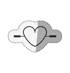 Sticker silhouette heart crossed by arrow vector