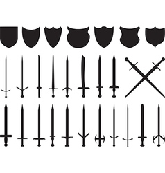 Swords and shields vector image