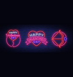 valentine s day is a collection of neon signs vector image vector image
