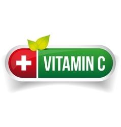Vitamin c pill button vector