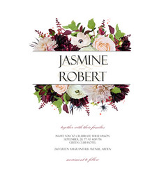 Wedding invitation invite card design rose vector