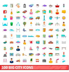 100 big city icons set cartoon style vector image vector image