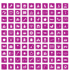 100 nursery school icons set grunge pink vector