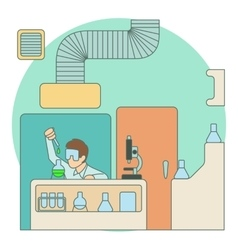Chemist working in laboratory concept flat style vector