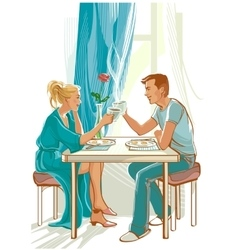 Happy family at table in the morning vector