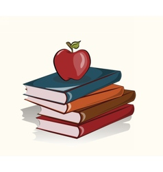 Books and apple background vector