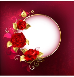 Round banner with red roses vector