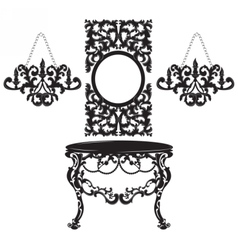 Vintage baroque dressing table and mirror set vector
