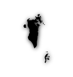 Map of bahrain with shadow vector