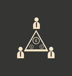 flat in black and white people pyramid money vector image