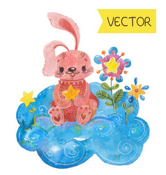 Cartoon night scene with cute rabbit vector