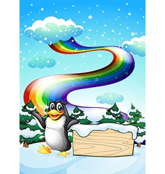 A penguin near the empty signboard and a rainbow vector image