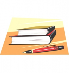 pen and books vector image