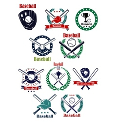 Baseball club and game emblems with equipment vector
