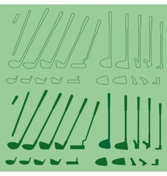 Golf sport items linear and silhouette set vector