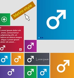 Male sex icon sign metro style buttons modern vector