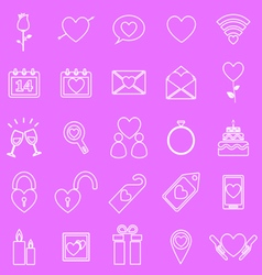 Valentines day line icons on pink background vector
