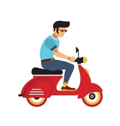 Hipster young man with glasses rides a motorbike vector