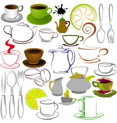Cups and teapots vector