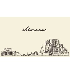 Moscow skyline russia hand drawn sketch vector